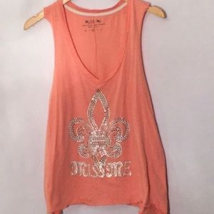 Miss Me coral bling tank
